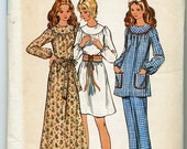 Vintage Dress in Two Lengths, Smock Top, and Pants Sewing Pattern - Butterick No. 6261 - Size 12