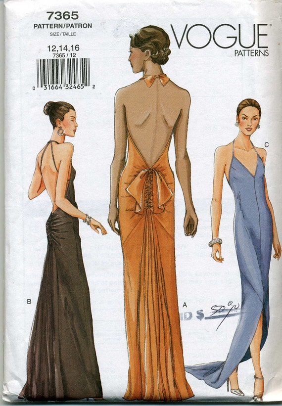 Lined Flared or Slightly Flared Bias Dress With Optional Big Bow Sewing Pattern - Vogue 7365 - Sizes 12-14-16