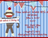 Mod Sock Monkey Striped Printable Invitation