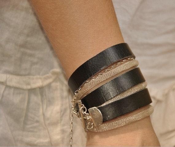 Black multi wrap  leather bracelet- silver chains