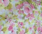 Vintage Sheet Fat Quarter, Pink Roses & Daisies