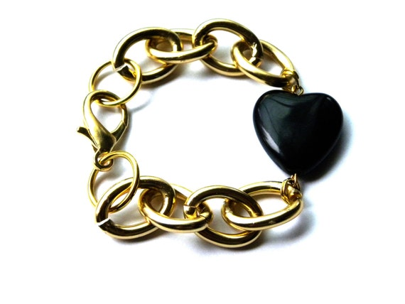 Black Heart & Gold Bracelet