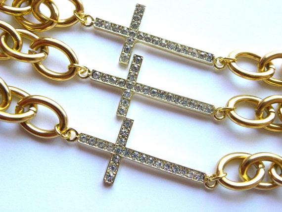 Sideway Cross Gold Bracelet