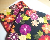 Fat Quartermania 2 for 2  Dollars Black With Rich Colored Floral Design