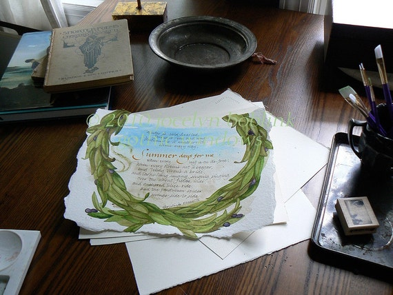 Rossetti Poem /Summer/ original watercolor painting with calligraphy on handmade paper