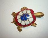 Patriotic Enamel Turtle Brooch/Scatter Pin
