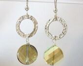 Chablis-Sterling silver swarovski crystal earrings-HANDMADE-OOAK-SRA-gift
