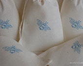 10 Blue Bee Muslin Drawstring Favor Gift Bags 4x6