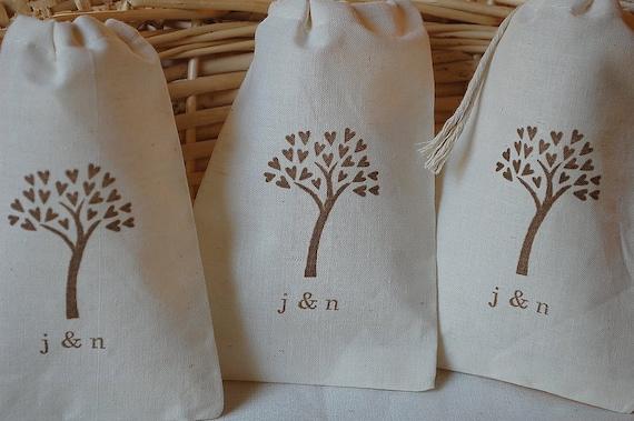 10 Wedding Favor BagsPersonalized Organic Muslin CottonBrown ...