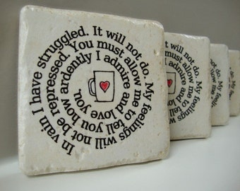 Coaster Coffee Cup Confessions Mr. Darcy's proposal to Elizabeth Set of 4 Italian Stone Coasters