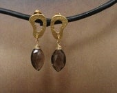 Smokey quartz marquis shaped briolette earrings