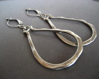Sterling silver decanter hoop earrings - solid sterling silver