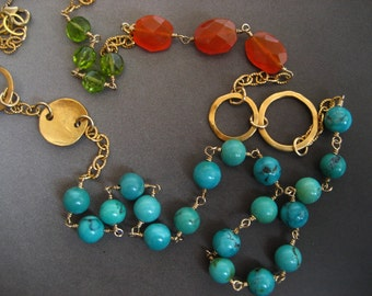 32 inch gold filled necklace with turquoise, peridot and carnelian