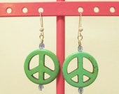 Hand-crafted Seafoam Green Peace Sign Sterling Silver Earrings