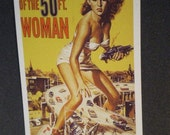 ATTACK of the  50 FT. WOMAN   sci fi  B-Movie 1956 movie poster postcard