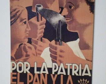 SPANISH CIVIL WAR poster postcard  For The Country  Bread and Justice 1937