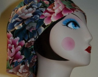 Asian Flower Banded Bouffant Surgical Cap