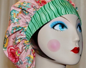 Artsy Cats Banded Bouffant Surgical Cap by Nurseheadwear