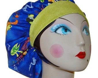 Musical Frogs Banded Bouffant Surgical Cap by Nurseheadwear