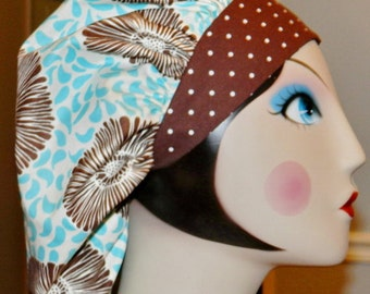 Brown Daisy with Turquoise Banded Bouffant Surgical Cap by Nurseheadwear