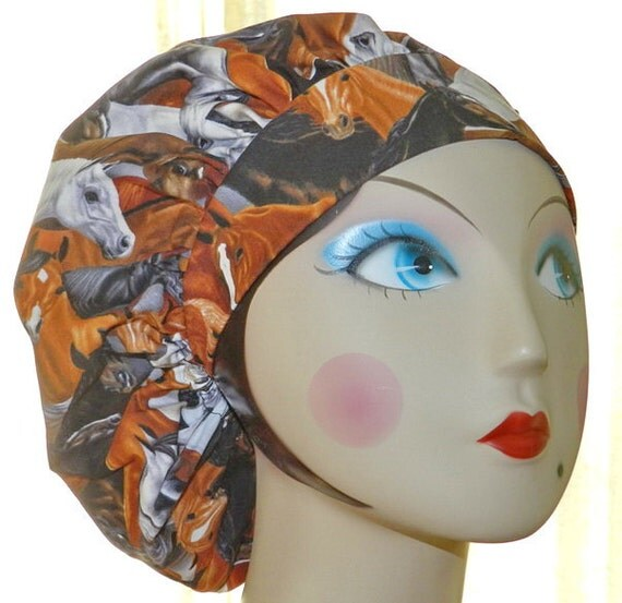 Handsome Horse Banded Bouffant Surgical Cap by Nurseheadwear