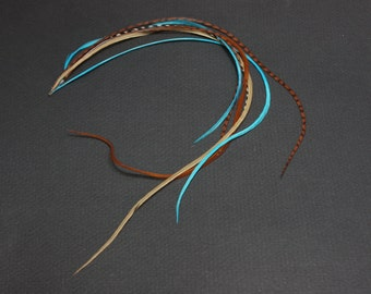 Thick Turquoise Brown Grizzly Feather Extensions 14 inches long