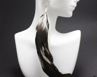 Long Black and Tan Feather Earrings
