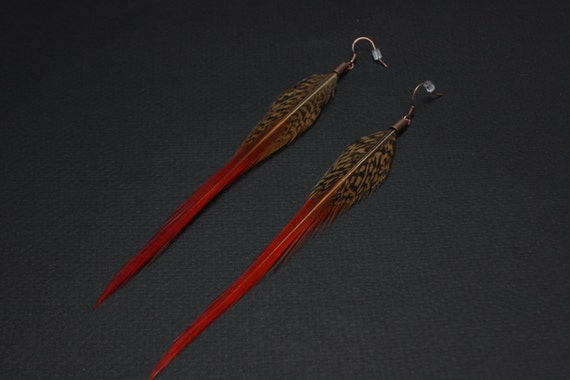 Uniquely Striped Feather Earrings