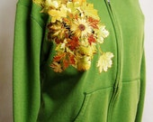 Custom Hoodie Beautiful Shade of Green With Autumn Floral Fabric Applique Design
