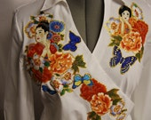 Asian Splendor Women's Custom White Blouse With Hand Painted Floral Fabric Appliques