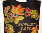 Canvas Black Tote Bag Custom Hand Painted Fabric Appliques Design For Autumn Lovers