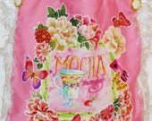 Canvas Spring Coffee Lovers Tote Bag Custom Hand Painted with  Floral and Butterflies Fabric Appliques