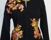 Womens Black Jacket Custom Designed With Floral Asian Fabric Appliques Size Large