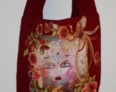 Wild Canvas Funky Fantasy Tote Bag Heavy Duty Hand Painted Floral Fabric Applique Design With Diamond Embellishments