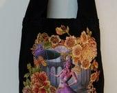Fantasy Canvas Black Hobo Tote Bag Custom Hand Painted Fabric Applique Design With Diamond Embellishments