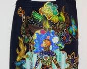 Meditation Bliss Navy Blue Custom CanvasTote Bag Hand Painted Fabric Applique Designs
