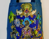 Exclusive Tote Hand Painted Fabric Applique Designs Meditation Bliss