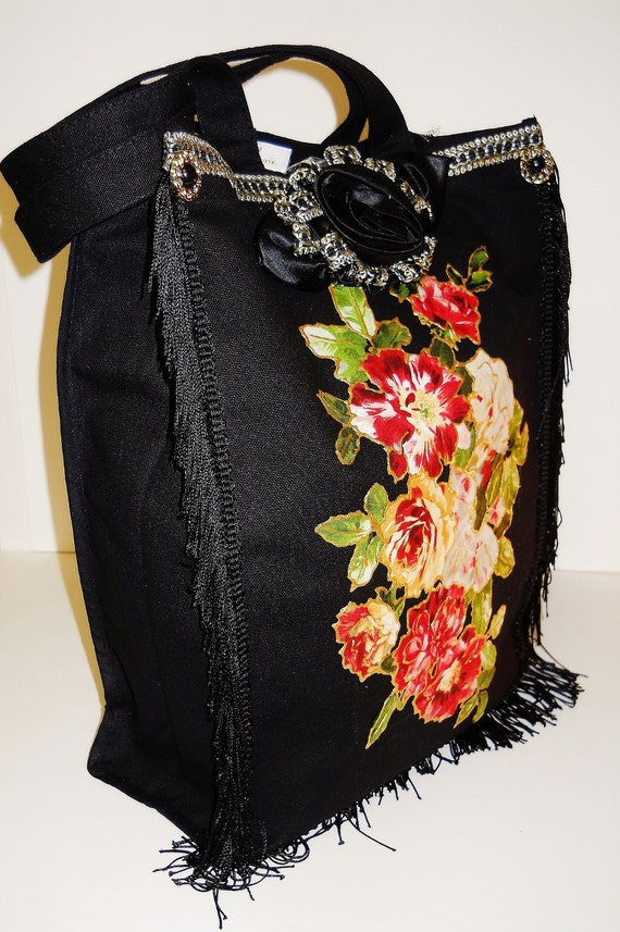 Holiday Sale 25% Off Black Canvas Custom Tote With Red Rose Fabric Applique Design and Black fringe