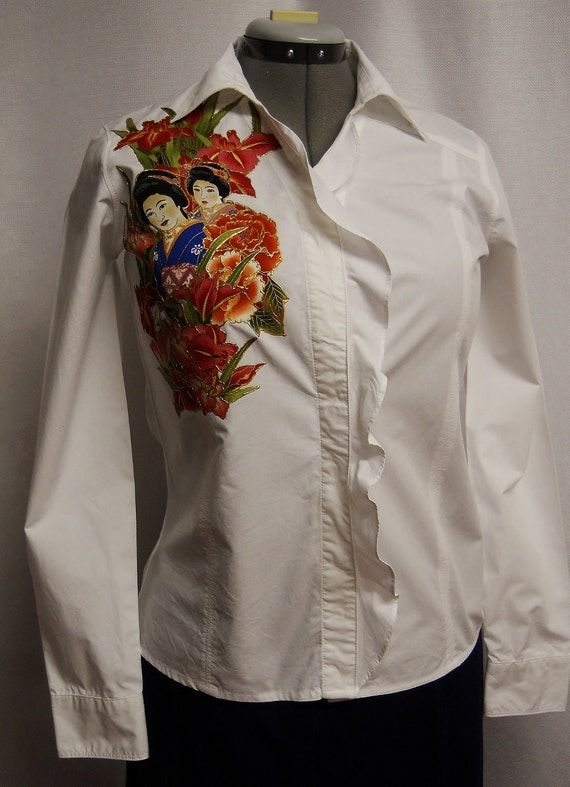Holiday Sale 75% OFF Women's Cotton Blouse With Custom Asian Fabric Applique Design Size Small