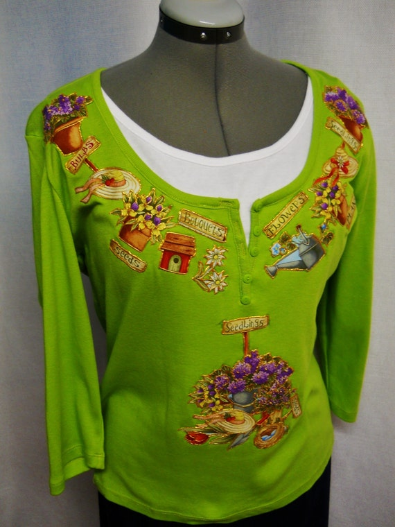 PRICE PLunge  Sale 90% OFF Women's Pullover  Lime Green Custom Designed with Gardening Fabric Appliques Size Large