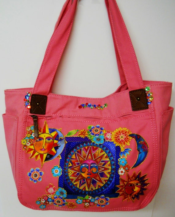 WOW Sale 75% OFF Tote Bag Pink Canvas Hand Painted Custom Majestic Sun and Moon Fabric Applique Design