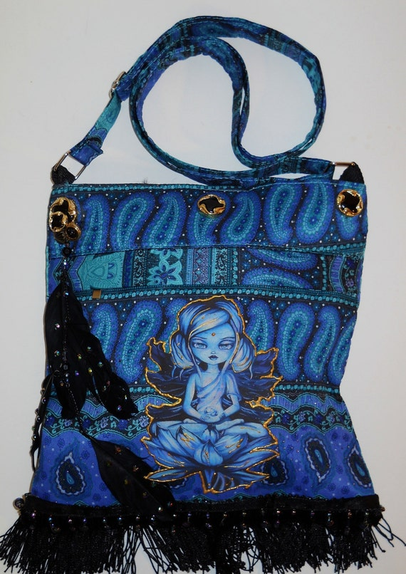 Handbag with Meditative Fabric Applique Block Design with Black Fringe, Pendants, and Feather Diamond Embellishments