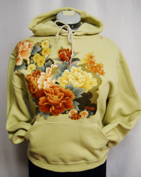 Women's Tan Color Hoodie Custom Fabric Applique Designed with Rustic Asian Floral Size Small
