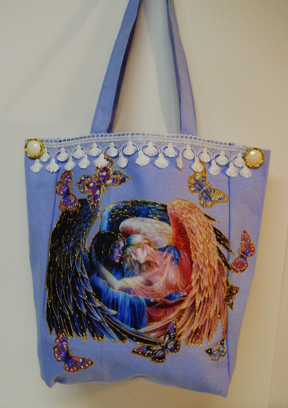 Sale 75% Off Tote Bag Blue Canvas Hand Painted Angel and Butterflies Fabric Applique Design