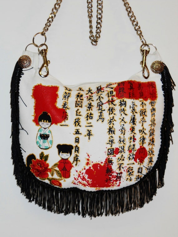 Big Sale 50% Off Asian Funky White Canvas Handbag with Fabric Applique and Black Fringe