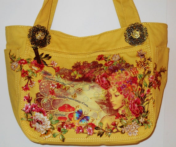 Holiday Sale 50% OFF Magical Canvas Yellow Handbag  With Fantasy Hand painted Fabric Applique Designs