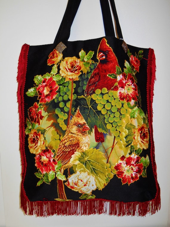 Holiday Sale 30% Off Canvas Tote Bag Black Custom Hand painted Fabric Appliques With Cardinals and Roses and Red Fringe