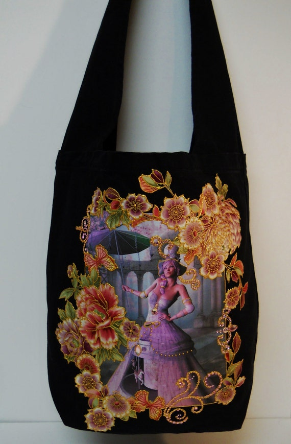 Fantasy Canvas Black Hobo Tote Bag Custom Hand Painted Fabric Applique Design With Diamond Embellishments