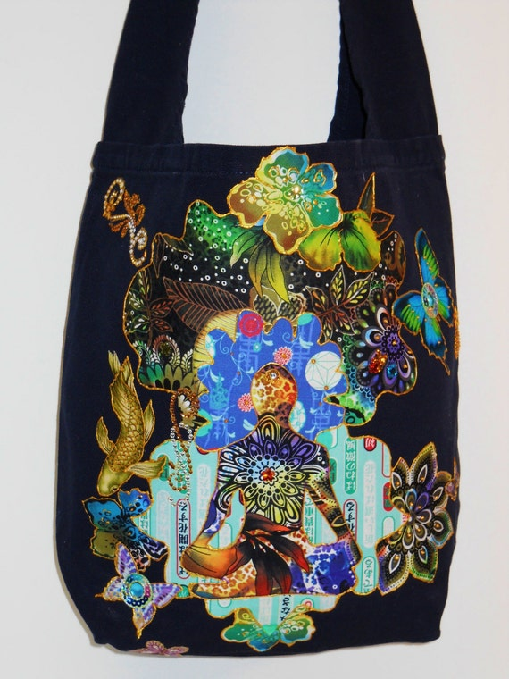 Meditation Bliss Navy Blue Custom CanvasTote Bag Hand Painted Fabric Applique Designs