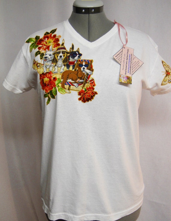 Items Similar To Dog Lovers White Custom Tee Shirt Hand